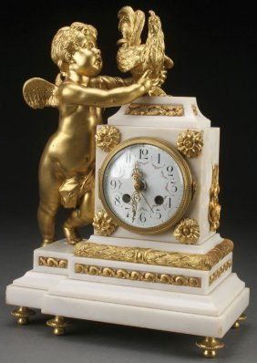 Louix Xvi Style Gilt Bronze & Marble Shelf Clock