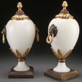 Pr Of Continental Carved Alabaster Urns