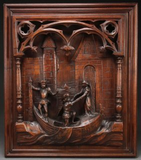 "An Italian Carved Walnut ""venetian Theme"" Figural"