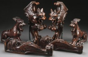 3 Pairs Of Northern Italian Figural Carved Brackets