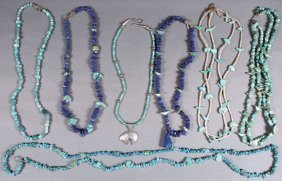 Seven Southwest Native American Turquoise And Blu