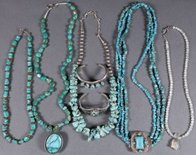 7 Pc Group Of Southwest Native American Jewelry