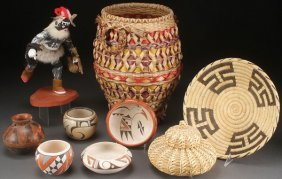 A Native American Pottery, Basketry And Kachina G