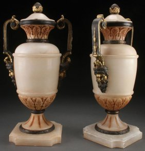 Neo-classic Italian Carved Alabaster Urns