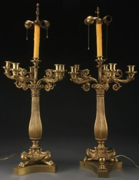 A Pair Of French Empire Style Gilt Bronze Candelabra