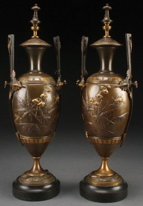 French Aesthetic Patinated And Partial Gilt Urns
