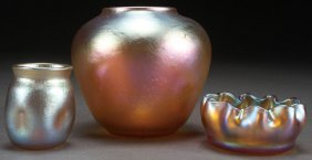 A Three Piece Group Of Tiffany Favrile Art Glass,
