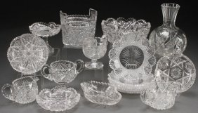 A 17 Piece Group Of American Brilliant Cut Glass,