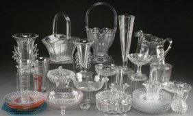 A 36 Piece Collection Of Mostly Heisey Crystal, E