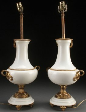 A Pair Of French Neo-classic Gilt Bronze White Ma