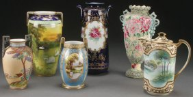 A Six Piece Group Of Hand Painted Nippon Porcelain