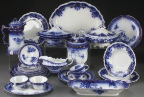 A 28 Piece Group Of Victorian Flow Blue China.