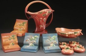 "A Collection Of Roseville ""snowberry"" Art Pottery"