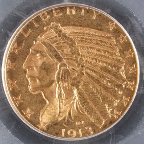 A 1913-s $5 Indian Gold Half Eagle. Ms61