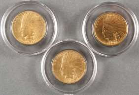 Three U.s. $10 Indian Gold Pieces. Comprising A