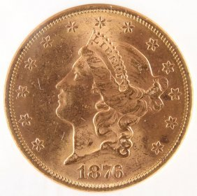 An 1876-s $20 Gold Liberty Head Eagle. Ngc Ms62.