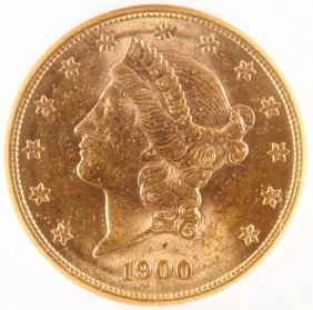 A 1900-s $20 Liberty Head Gold Double Eagle. Ms60