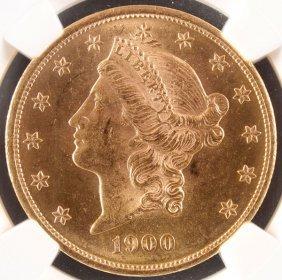 A 1900 $20 Liberty Head Gold Double Eagle. Ms62