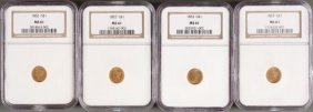 Four U.s. $1 Gold Liberty Heads. Each Ngc Certi