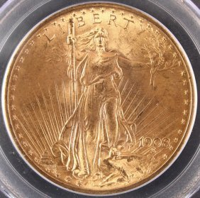 A 1908 $20 St.gaudens Gold Double Eagle. Ms65