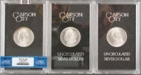 Three Carson City Uncirculated Silver Dollars. E