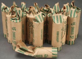 A Collection Of 18 Rolls Of Mercury Dimes.