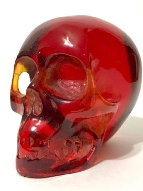 Ornate Hand Carved Red Burmese Amber SKULL
