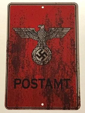 German Nazi Flying Eagle-Swastika Metal Sign
