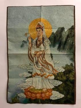 Old Silk Hand Embroidered Chinese Buddha Tapestry