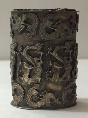 Antique Chinese Silver Dragon & Phoenix Snuff Box