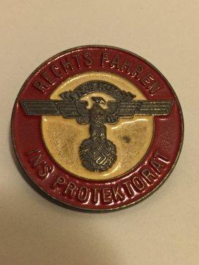 "Nazi Germany ""rechts Fahren"" Enameled Lapel Pin"
