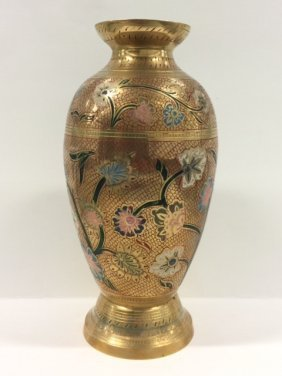 """12"""" Tall Vintage Etched/enameled Solid Brass Vase"""