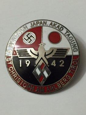 Nazi Germany & Japan Enameled Alliance Pin