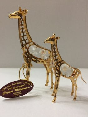 Pair Of 24kt Gold Plated/austrian Crystal Giraffes
