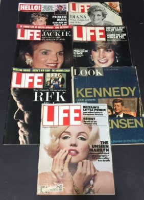 7 Vintage Life & Look Magazines/marilyn/jfk +
