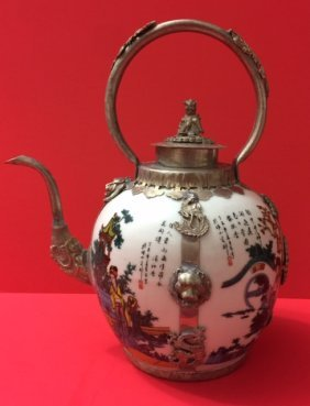 Antique Chinese Hallmarked Porcelain/silver Teapot