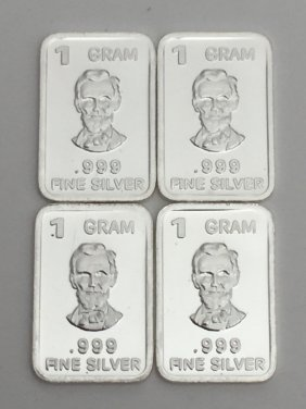Lot Of 4 - .999 Fine Silver 1 Gram Bullion Bars