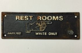 1927 Black Americana Cast Iron Segregation Plaque