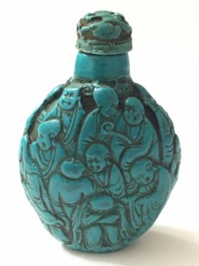 Old Carved Turquoise Chinese Immortal Snuff Bottle