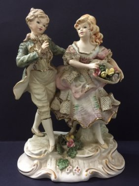 "9"" Tall - Antique Italian Laced Porcelain Figurine"