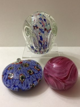 Murano Millefiori & Gibson Art Glass Paperweights