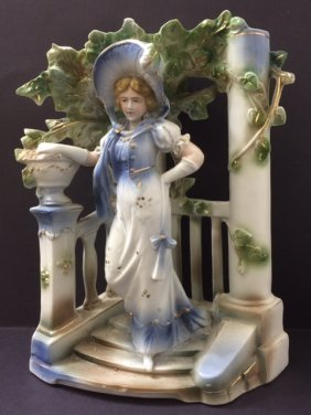 Lg. Antique German Porcelain Figural Centerpiece