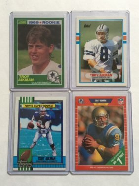 Lot Of 4 Troy Aikman Rookie Football Cards