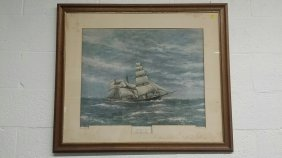 """clipper Flying Cloud"" Litho/print?, Pencil Signed"