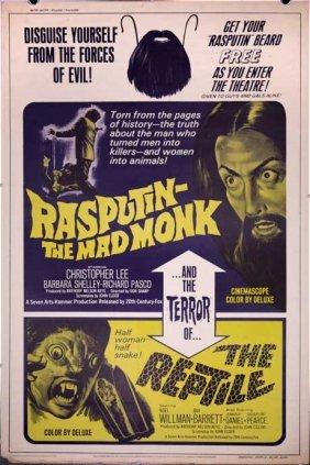 Hammer Double Feature Rasputin Reptile 1966 40x60
