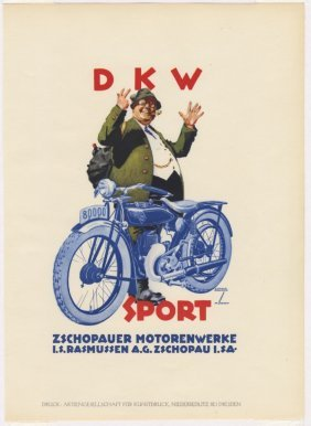 Dkw Lithograph Hohlwein German Society