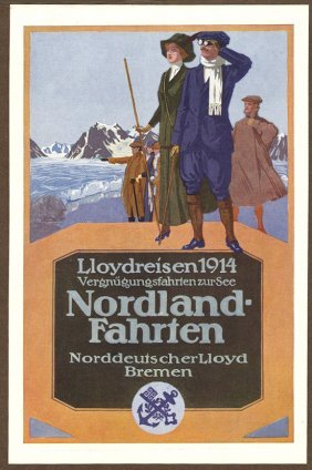 Nordland Fahrten German Travel Antique Poster
