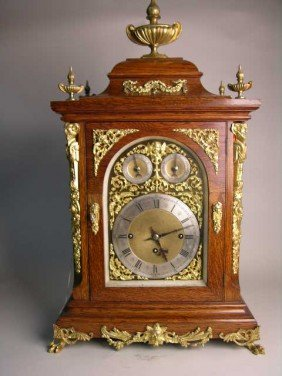 ENGLISH OAK  CHIMING BRACKET  CLOCK WITH BRASS DIALS