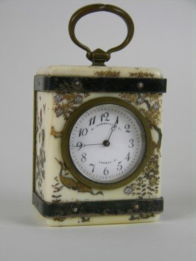 ANTIQUE SHIBAYA MINATURE CARRIAGE CLOCK.