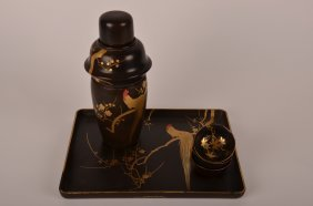 Japanese Lacquer And Gilt Painted Sake Set Comprisi